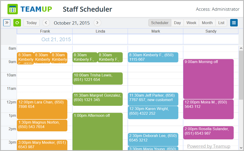 Unique Scheduler view is part of our free service