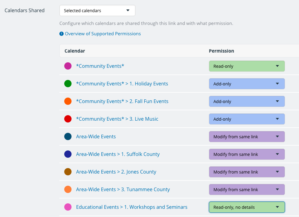 Set appropriate access permissions for each sub-calendar you share in your Teamup calendar