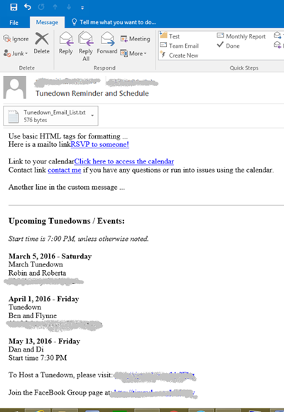 Reminder email sent from the calendar