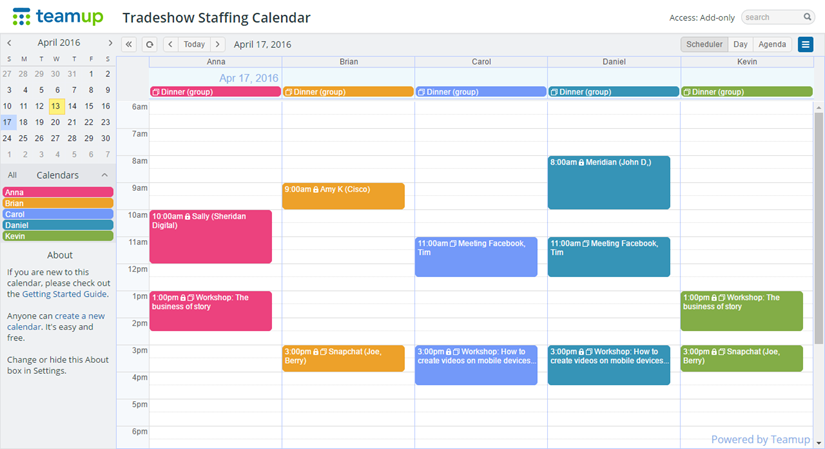 Use Teamup for tradeshow staff calendar