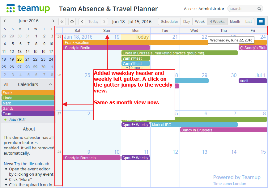 Multi-week calendar view now has weekday headers