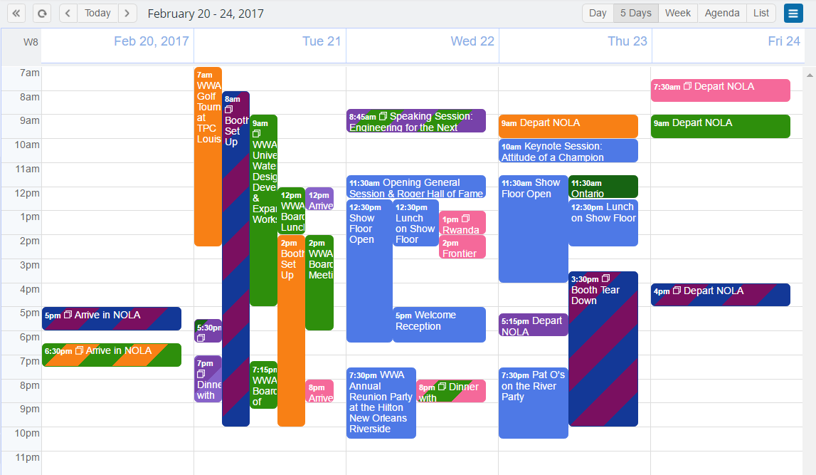 Color stripes for events assigned to multiple calendars