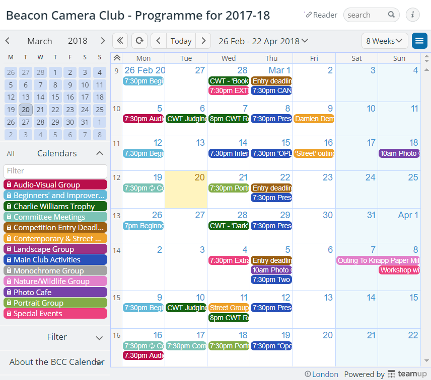 A colorful example of a camera club's calendar.