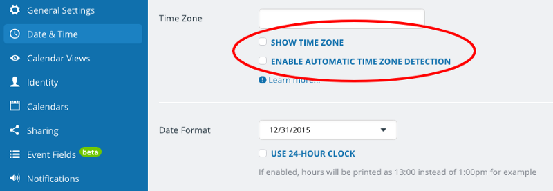 disable time zone detection