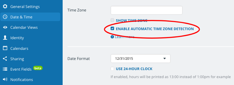 enable time zone detection