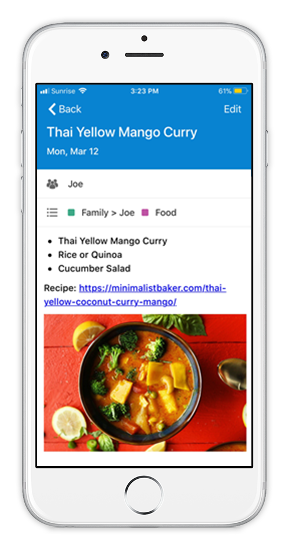 Mobile device view of a family dinner plan.