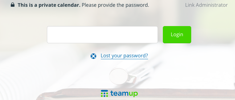 A password-entry box appears over your calendar before you can access it.