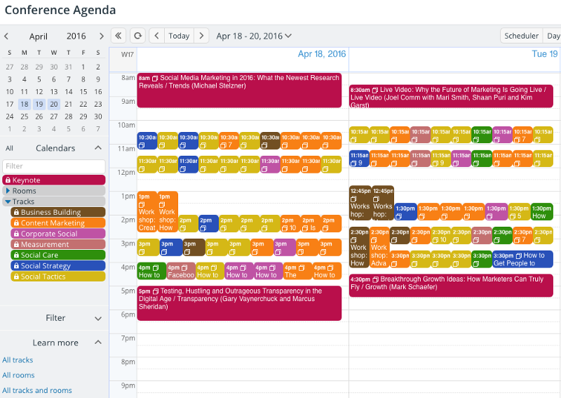 An image of a live demo conference calendar.