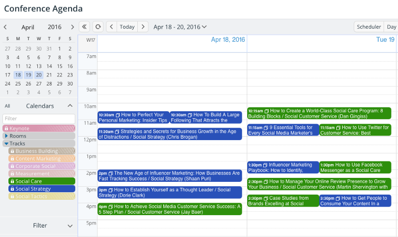 A view of the calendar with only two sub-calendar in the view.