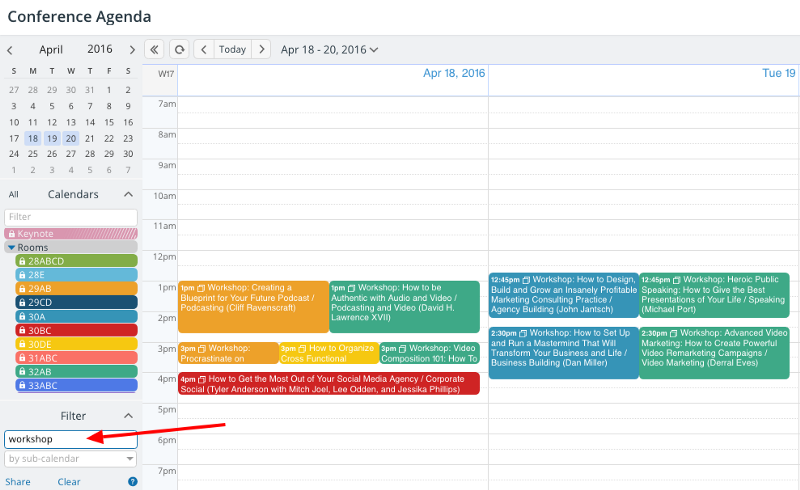 A calendar view that's been filtered by a keyword.