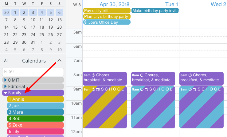 A striped event box indicating that the event is on multiple calendars.