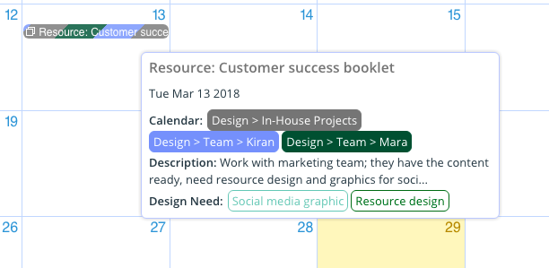 A mouse-over of event details shows which calendars it's assigned to.