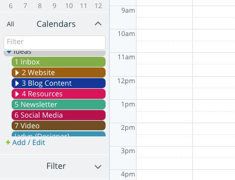 A list of organized sub-calendars.