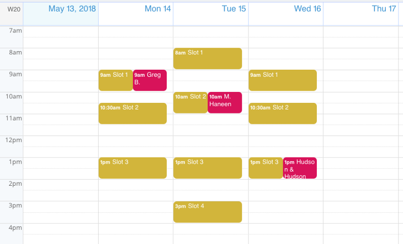 A view of the calendar window with two booking sub-calendars shown.