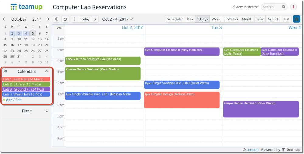 Screenshot of a shared calendar with color-coded sub-calendars.