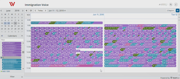 A screenshot of the Immigration Voice calendar with 300 meetings.