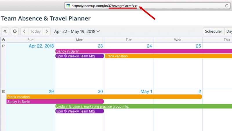 A URL with the calendar key section highlighted.