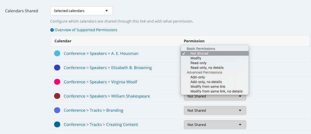 The drop-down menu with nine different permissions settings.