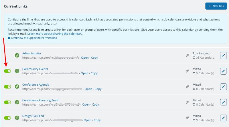 The window that allows you to deactivate, modify, or delete a calendar link.