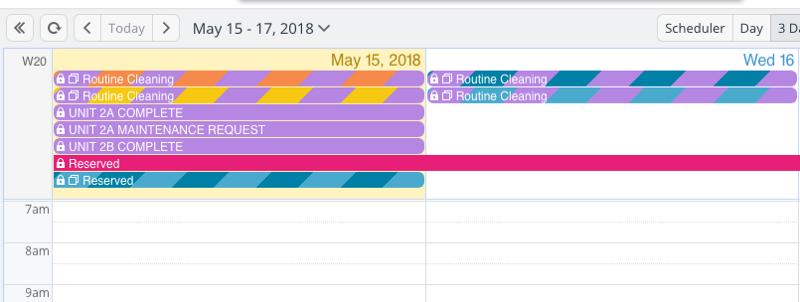 A 3-day calendar view of a shared property management calendar.