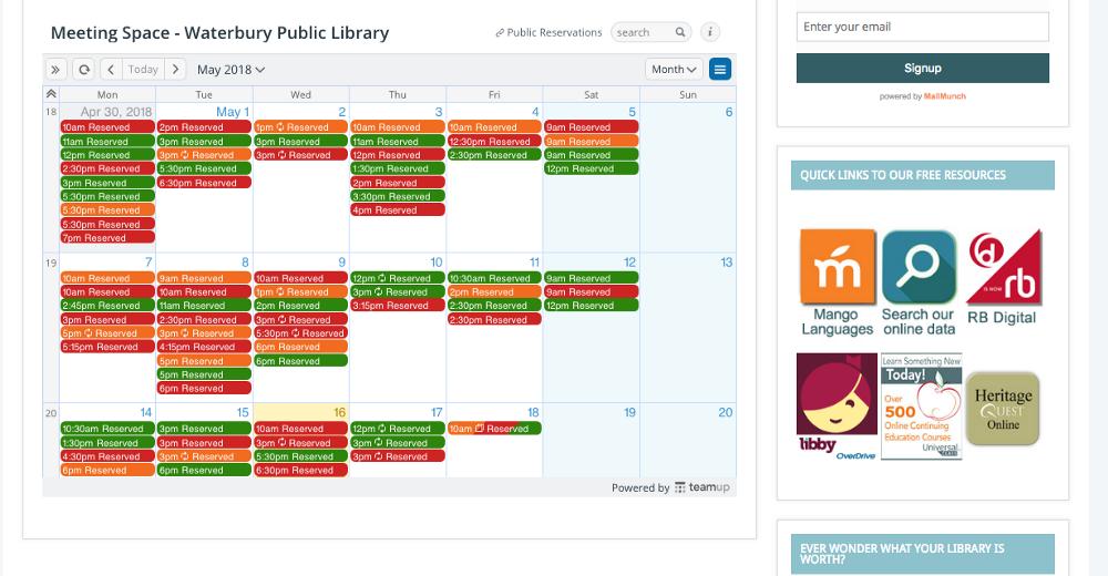 A screenshot of a live calendar embedded on a website.