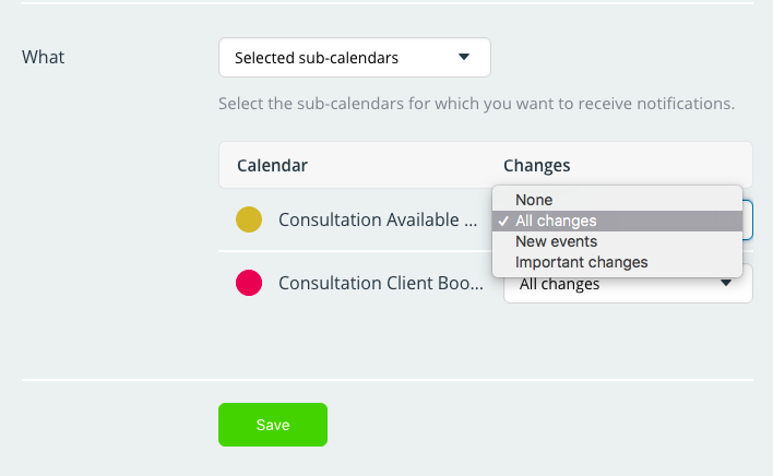 Customize your calendar notifications in your Slack channel.