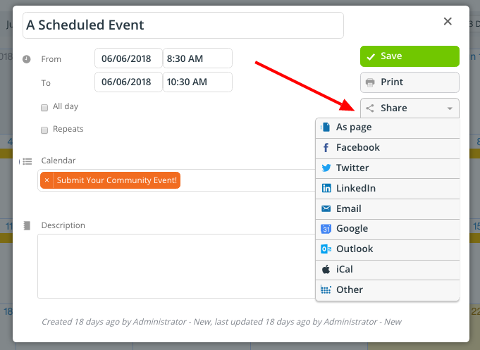The options available to share a calendar event on social media.
