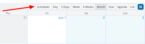 The top bar of a calendar shows the calendar view options.