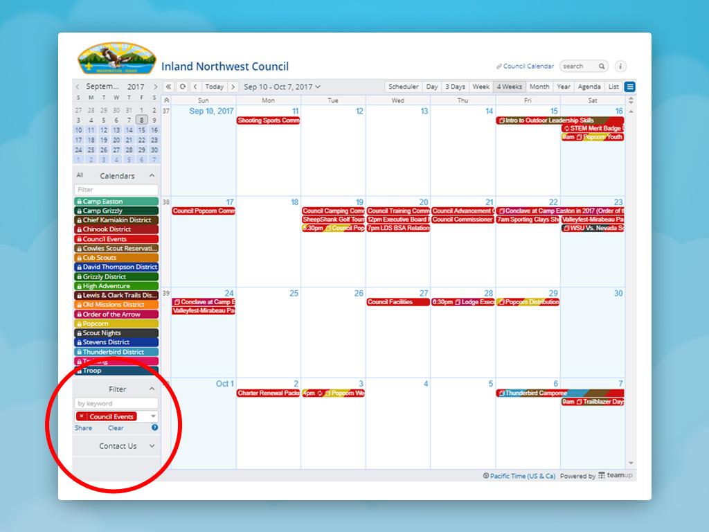 A screenshot of a calendar being filtered by a selected sub-calendar.