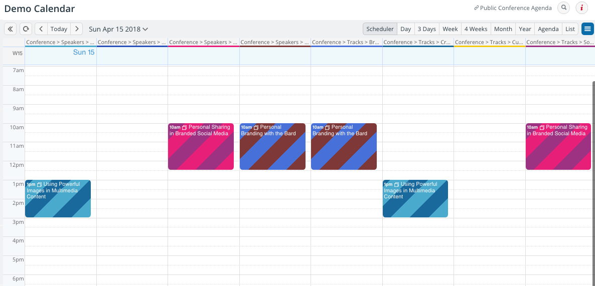 Customized calendar in a scheduler view on a specific date.