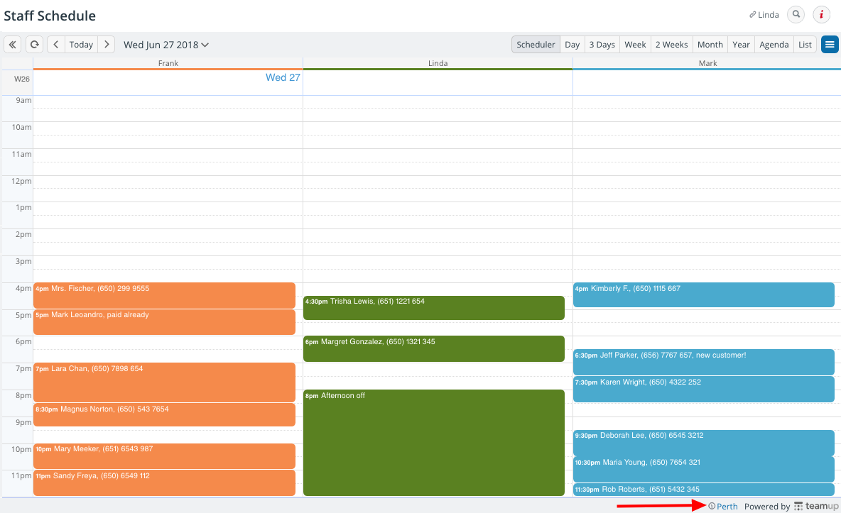 A calendar in Scheduler view with time zone adjusted for travel.