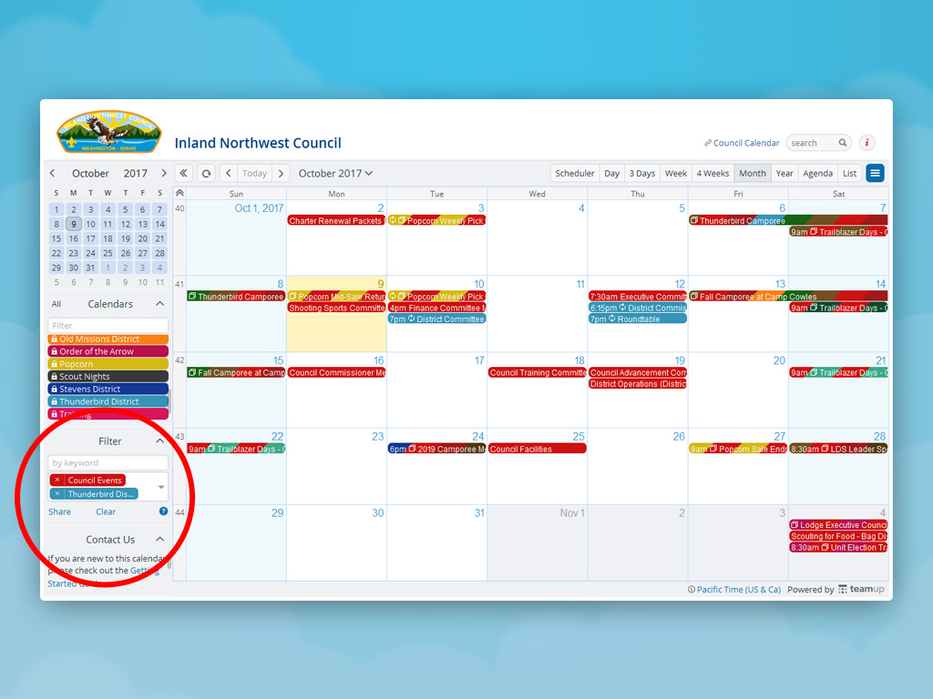 A screenshot of a calendar filtered by two sub-calendars.