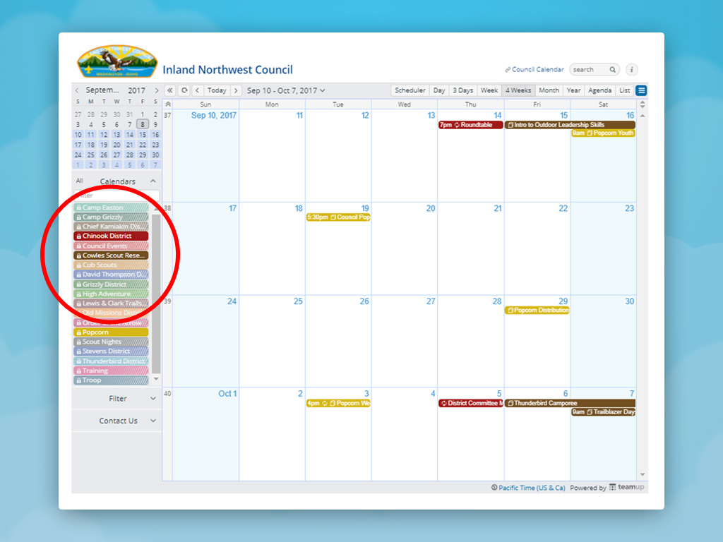 A screenshot of a calendar with the sub-calendar list circled.