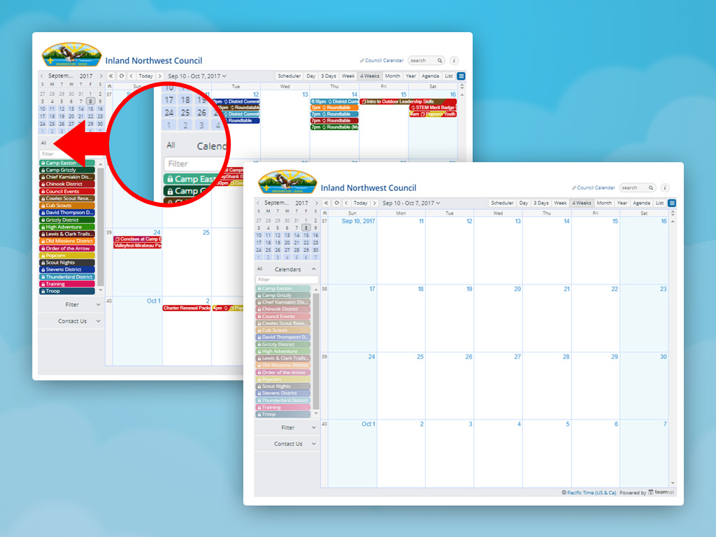 Click on the All at the top of the calendar sidebar.