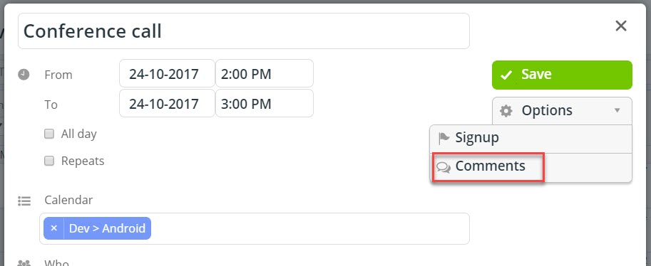 Add event comments in your Teamup calendar.