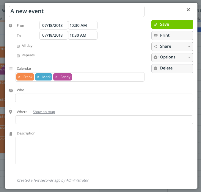 The event editor in Teamup calendar is easy to use.