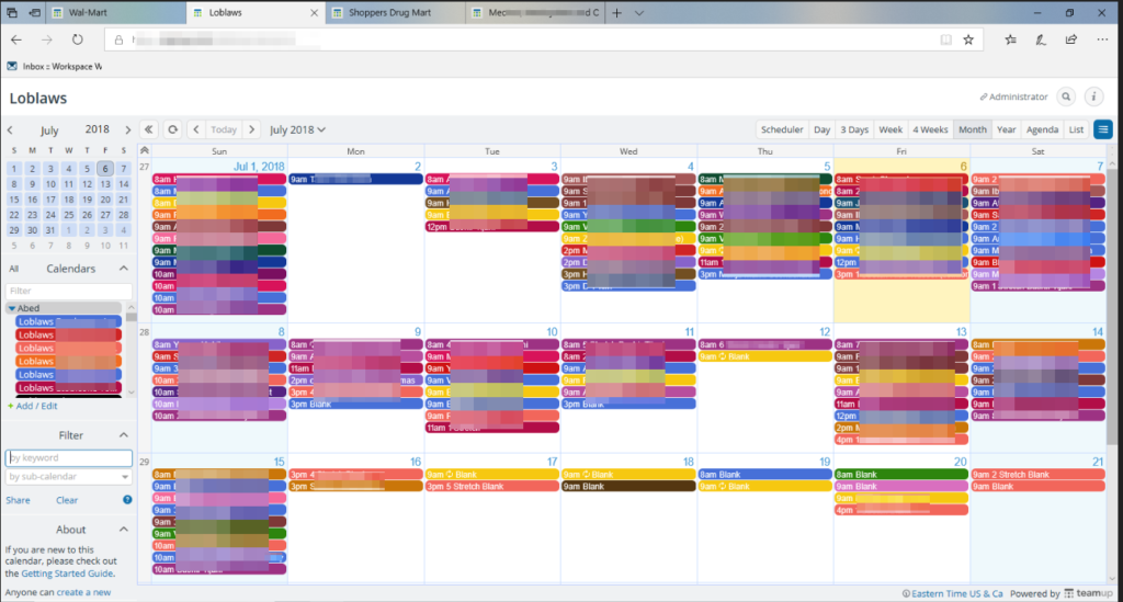 Using Teamup to manage a complex staff schedule.