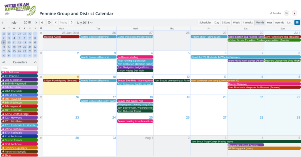 A shared calendar makes it easier to manage multiple groups.