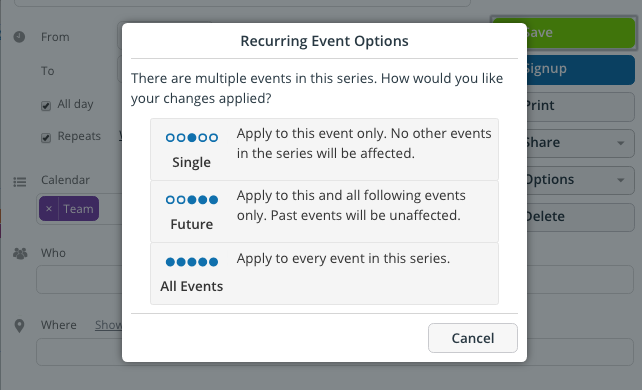 You can modify the Signups for each instance of an event.