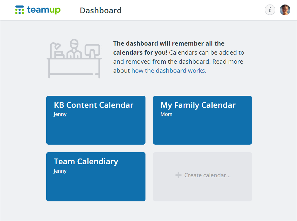 Teamup account dashboard