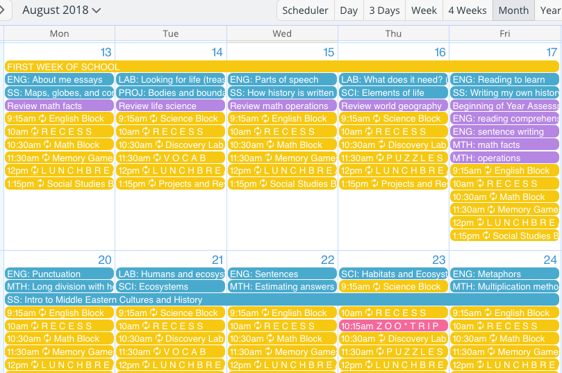 A teacher's organized calendar for back-to-school