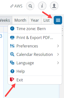 The exit option on a Teamup calendar.