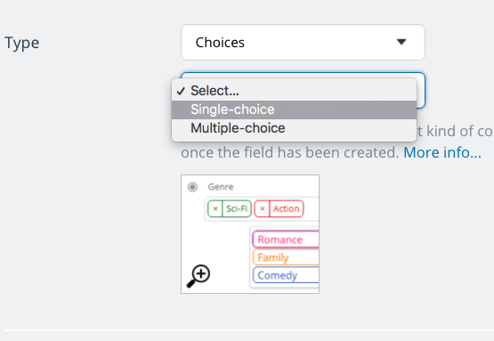 Choose single choice or multiple choices for a custom event field.