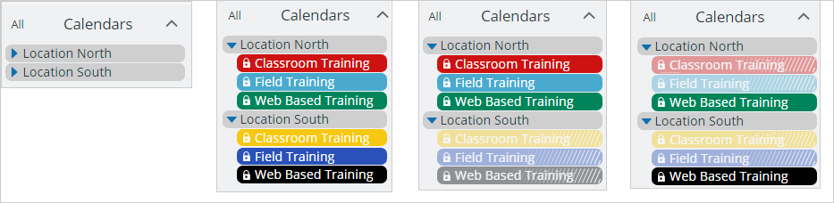 Use color-coding to organizing feeds from multiple master calendars.