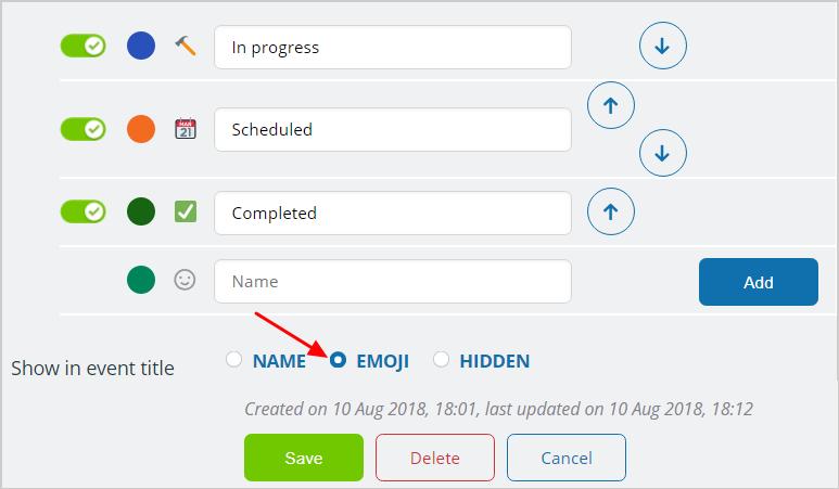 Show emoji or name of custom event field.