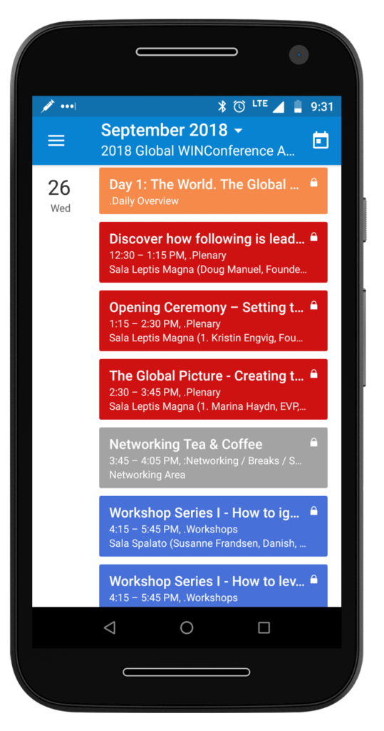 A conference agenda accessed on the Teamup mobile app.