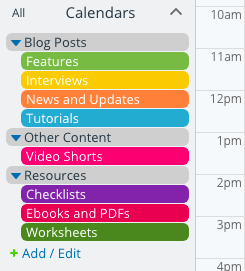 Sort types of content in your editorial calendar.