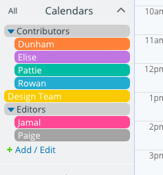 Create sub-calendars of individual team members or for teams on your editorial calendar.