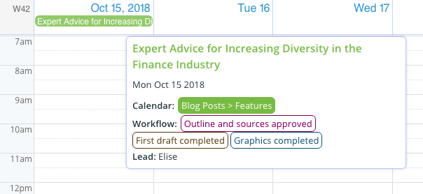 See the event field contents in the event title on your editorial calendar.
