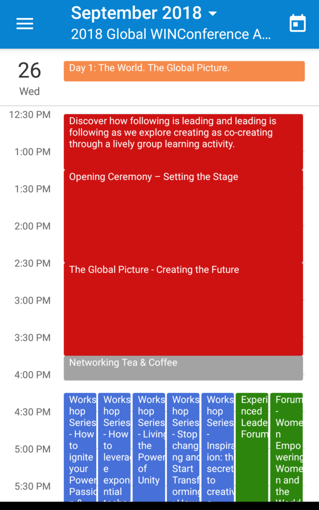 A conference agenda on Teamup mobile app in Day view